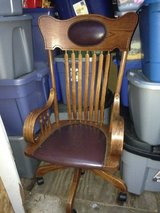 Teacher/Librarian Chair wood and leather on wheels in Bolingbrook, Illinois