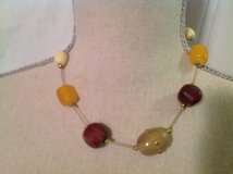 "Thin Cord Heavy Beads Green Yellow Red Gold Tone Hardware 16"" Ext 3"" Necklace in Kingwood, Texas"