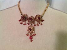 """Asian Style Gold Tone Red Maroon Bead Statement Bib Necklace 26"""" Adjustable in Houston, Texas"""