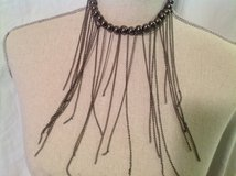 "Pewter Color Beads Black Chains Bib Necklace Choker 14"" in Kingwood, Texas"