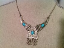 Silver Tone Turquoise Color Beads Native American Indian Fixed Pendant Necklace in Kingwood, Texas