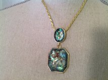 """Gold Tone Braided Necklace 16"""" Green Marble Irradescent Pendant Statement in Houston, Texas"""