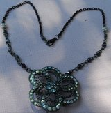 Necklace Large Flower Black and Crystall Pendant on Black Chains Purple Crystals Custom Made in Houston, Texas