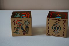 Party Lite Pair of Southwestern Stained Glass Candle Holders in Chicago, Illinois