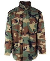 Woodland Camo Field Jacket M65 + Liner Cold Weather Coat Size Medium Long in Fort Benning, Georgia