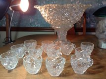 Vintage Crystal Punch Bowl, Stand and 36 Glasses! Great for a wedding! in Schaumburg, Illinois