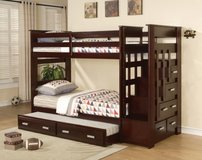 ***Kasper's Espresso Twin over Twin Bunk Bed with Staircase Storage and Trundle*** in San Clemente, California