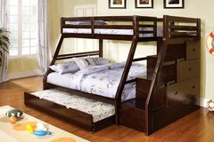 ***Micah's Espresso Twin over Full Bunk Bed with Staircase Storage and Trundle*** in San Clemente, California