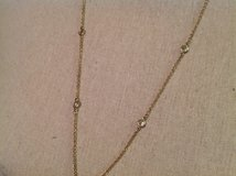 """Cookie Lee Gold Tone Faux Diamond Clear Stone Chain Necklace 32"""" Blemish in Houston, Texas"""