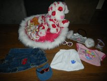 Build A Bear Hearts Puppy Dog w/ Furry Pink Bed & Clothes Lot in Houston, Texas