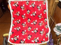 Mickey Mouse Baby Blanket Fleece with Crocheted Edging Handmade Yarn in Belleville, Illinois
