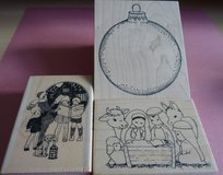 3 Wooden Christmas Stamps Code 59 in Lakenheath, UK