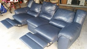 NATUZZI GENUINE LEATHER SOFA*** HOUSTON TEXAN BLUE*** in Kingwood, Texas