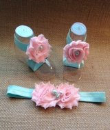 Pink and sea foam green sandal and headband set in Vista, California