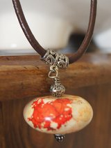 NECKLACE, MARBLED ORANGE STONE in Lakenheath, UK