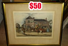 "ANTIQUE FRAMED PRINT TITLED "" THE MAIL COACH CHANGING HORSES "" in Warner Robins, Georgia"