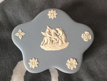 Small blue Wedgwood trinket box in Lakenheath, UK