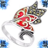 NEW - Red Enamel Marcasite Swirl Tulip 925 Sterling Silver Ring - Size 9 in Alamogordo, New Mexico