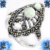 NEW - NATURAL PEARL MARCASITE RING  - SIZE 7 in Alamogordo, New Mexico