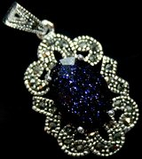 New - Navy Blue Sandstone Marcasite 925 Sterling Silver Pendant (Includes a chain) in Alamogordo, New Mexico