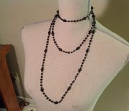 """NWOT LC 62"""" Black & Clear Stone Necklace Plastic Bead Choker Statement in Kingwood, Texas"""