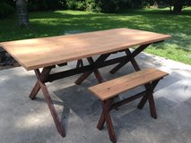 Farm house style X table benches in Camp Lejeune, North Carolina