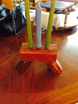 Wood candle holder in Fort Polk, Louisiana