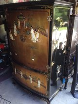 VINTAGE CHINESE GOLD LEAF CABINET BLACK LACQUER MOTHER OF PEARL & 4 Panels in Beaufort, South Carolina
