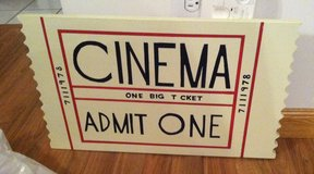 Cinema Ticket Wood Sign in Naperville, Illinois