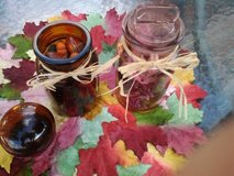 Pink Blown Glass (NEW) Jar & Glass Amber Jar Filled With Potpourri/Botanical in Westmont, Illinois