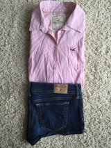 Hollister Shirt-Medium/Denim Shorts-Size 7 in Plainfield, Illinois