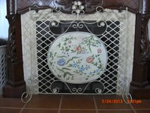 Metal painted flower fireplace screen in Alamogordo, New Mexico