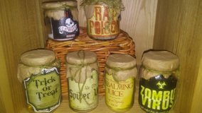 Apothecary Halloween jars decor in The Woodlands, Texas