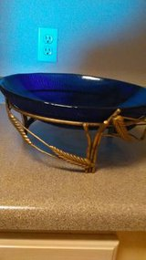 Large Cobalt Blue Glass Bowl w/ornate metal holder in Sacramento, California