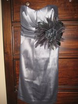 NEW WITH TAGS Dark silver/charcoal color formal, semi-formal dress with gorgeous feather accessory in Alamogordo, New Mexico
