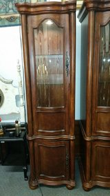 Lighted beveled glass wood cabinet in Fort Leonard Wood, Missouri
