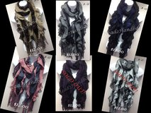 NEW Ladies two-tone puffy ruffle knitted crochet long scarf/wrap in Colorado Springs, Colorado
