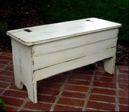 Wood bench storage coffee table entry way porch in Camp Lejeune, North Carolina