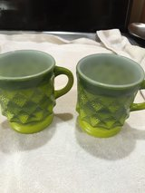 2 green Fire King Kimberly mugs in Fort Campbell, Kentucky