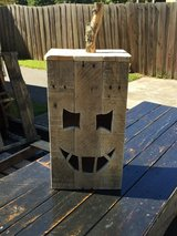 Halloween Pumpkin Jack O lantern pallet wood porch display in Camp Lejeune, North Carolina