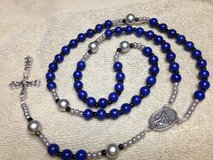 Police Rosary Blue Howlite Beads Silver Black Accents St. Michael Middle Donation to Police Char... in Kingwood, Texas