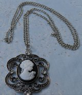 Cameo Pendant on Chain Estate Piece Black and White Cameo in Bronze with Long Chain Never Worn in Kingwood, Texas