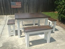 Farm style wood dinner dinning table bench in Camp Lejeune, North Carolina