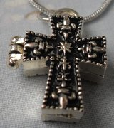 Prayer Box Pendant Shaped Like a Cross Closes on Magnets SIlver Serpentine Chain in Houston, Texas