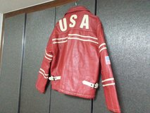 USA RED LEATHER JACKET in Yongsan, South Korea
