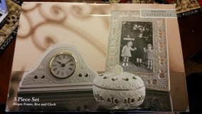 New / Almond / 3 Piece Clock / Picture Frame Set in Fort Campbell, Kentucky