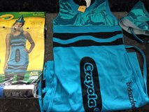 Turquoise crayon dress costume girls 12 but easily fits a women's 2 in Yorkville, Illinois