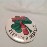 Vintage Sharp's Keep Your Irish Edge St. Patrick's Day Shamrock Beer Button Pin in Kingwood, Texas