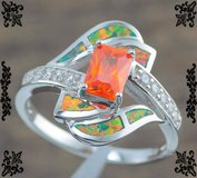New - Orange Garnet and Orange/Green Fire Opal Ring - Sizes 6, 7 and 9 in Alamogordo, New Mexico