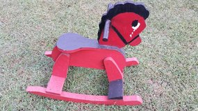 Red Wooden Rocking Horse in Fort Campbell, Kentucky